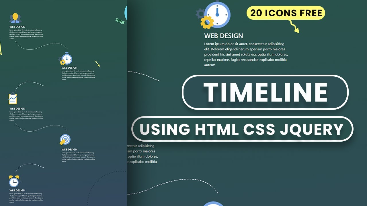 How to make Modern Timeline Design using HTML CSS JQuery