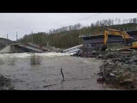 Nord-News: Видео разрушенного ж/д моста на станции Выходной