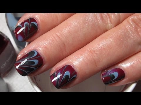 Plum, Blue & Grey | Water Marble March 2013 #9 | DIY Nail Art Tutorial