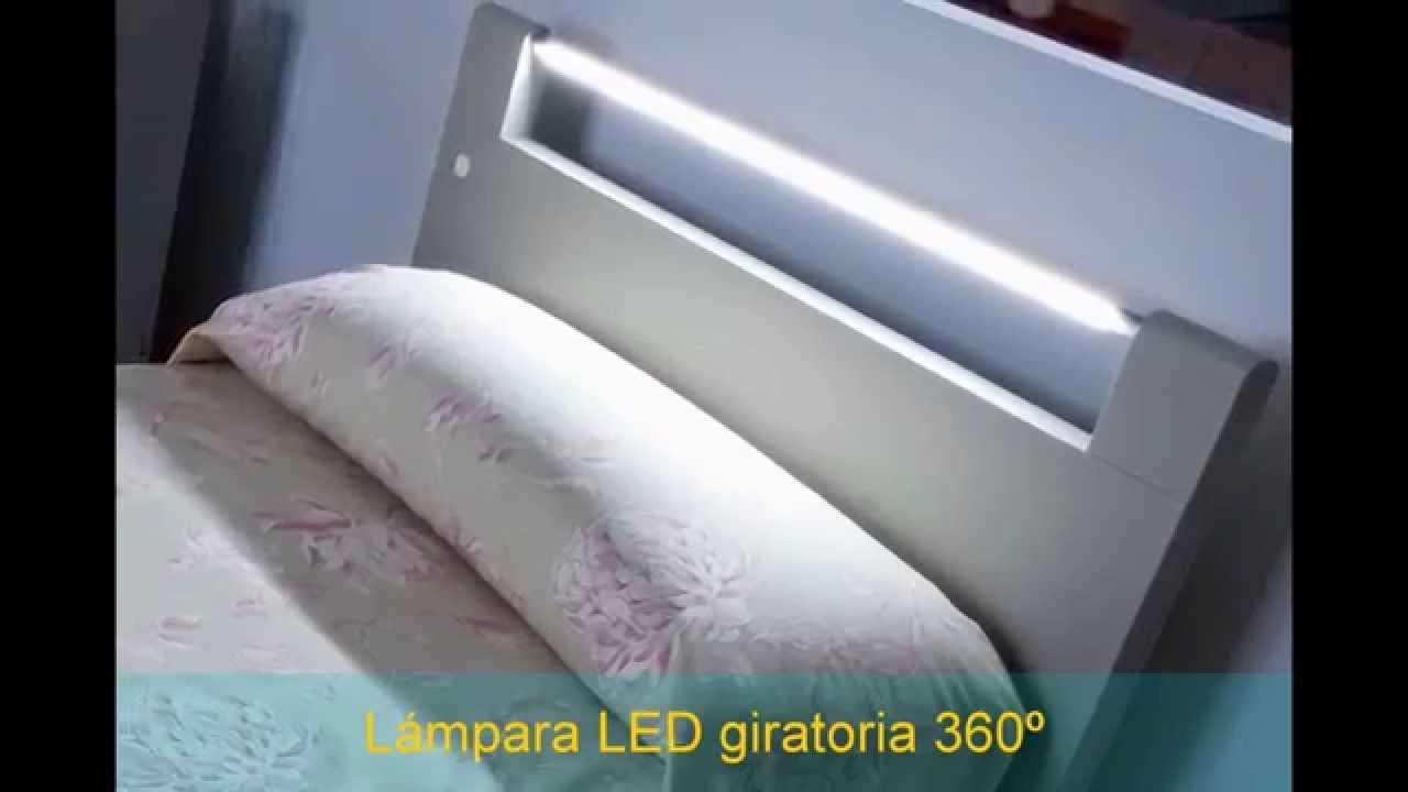 Cabecero de cama con luz led cama con luz cabecero a - Luz para leer en la cama ...