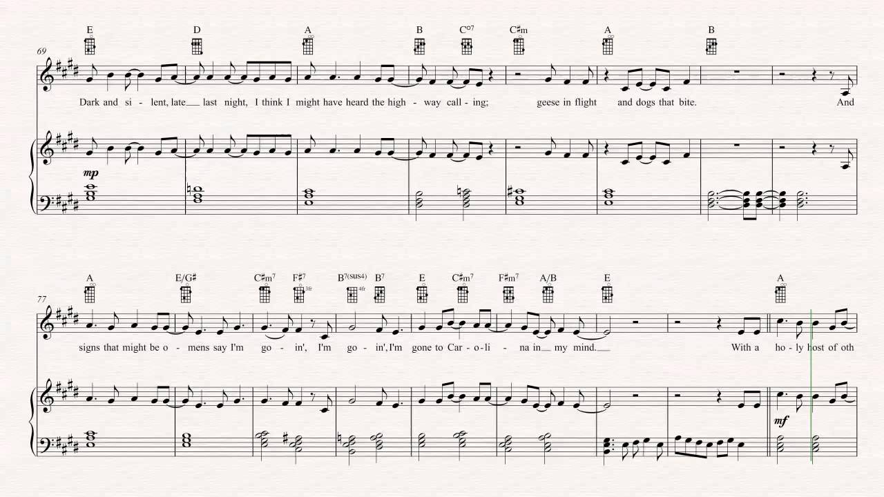 Ukulele Carolina In My Mind James Taylor Sheet Music Chords