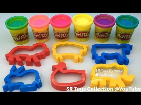 Play Doh Sparkle with Animals Cookie Cutters Fun for Kids