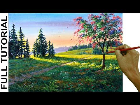 acrylic-landscape-painting-tutorial-/-pink-flowering-tree-in-spring-/-jmlisondra