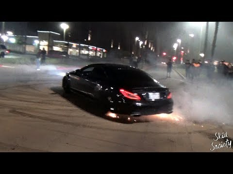 Cars doing Donuts Takeover Parking Lots in California
