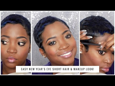 EASY NEW YEAR'S EVE SHORT HAIR & MAKEUP LOOK! | THEHAIRAZORTV