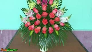 Cắm Hoa Ngày Rằm - Bình Hoa Phi Yến mix Hoa Hồng