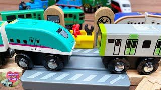 E235系山手線 & E5系新幹線はやぶさ 日本の電車 木製のおもちゃ ☆木製レールセットのコースを組み立て☆シンカリオンZも登場【ウピさん&upisch】