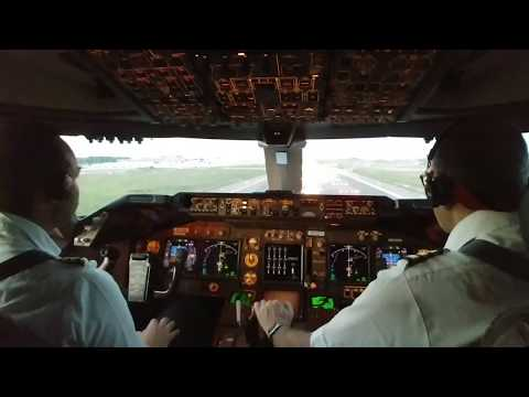 BOEING 747-400 TAKEOFF.  Full COCKPIT procedures