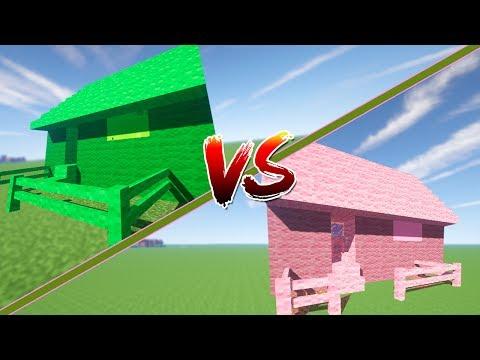 CASA ROSA VS CASA VERDE | Minecraft | Rovi vs Mel