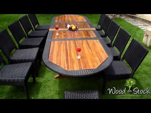 salon-de-jardin---ensemble-table-teck-résine-et-chaises-résine-tressée