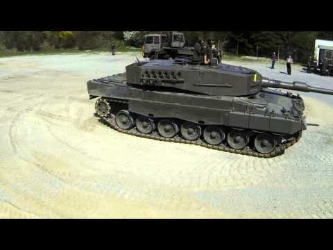 Leopard 2A2 filmed with Locust Quadcopter