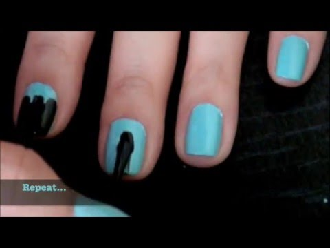 Black And Teal Nail Design For Short Nails Requested Youtube
