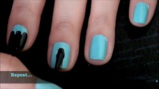 Black and Teal Nail Design for Short Nails (Requested) thumbnail