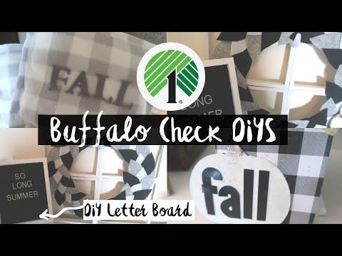 DOLLAR TREE FALL DIY | FARMHOUSE BUFFALO CHECK DIYS | FALL HOME DECOR DIY | DOLLAR TREE DIY
