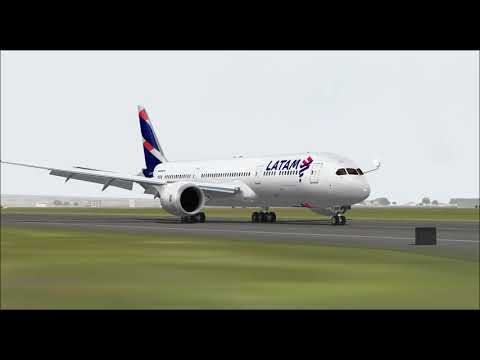 BOEING 787 9 LATAM AIRLINES LANDING AT GUARULHOS INTL AIRPORT FS9 HD
