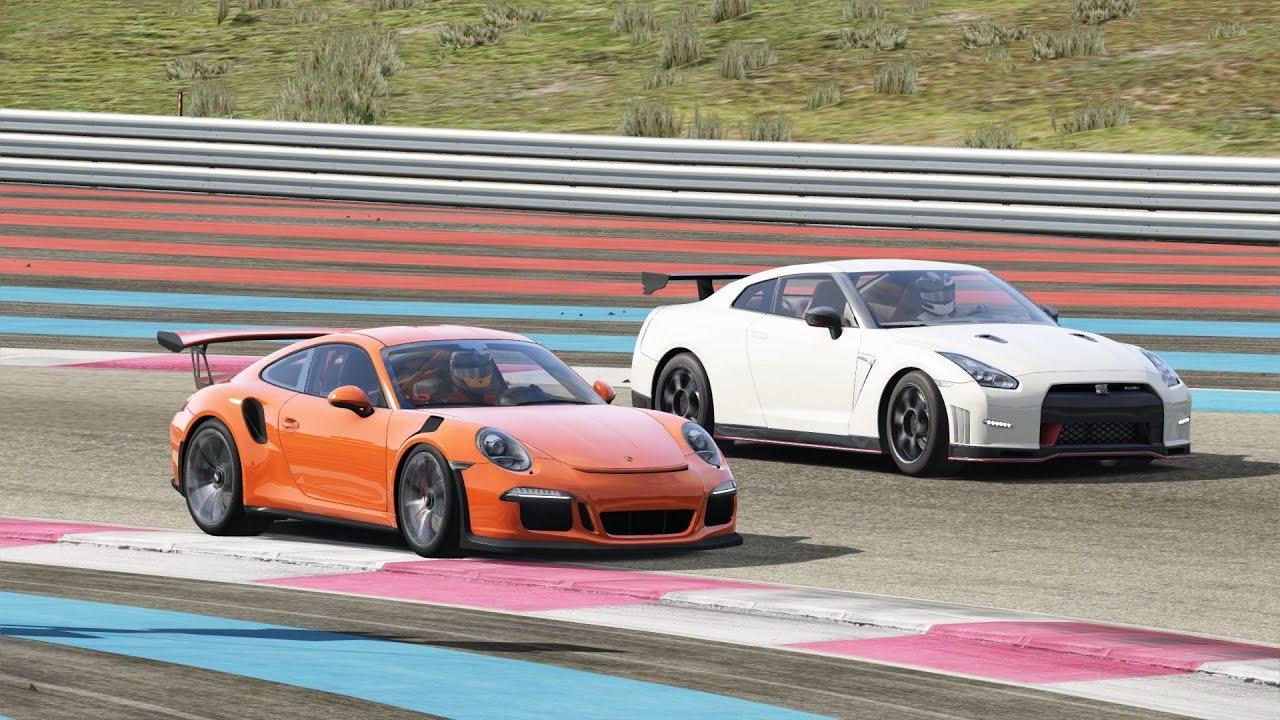 nissan gtr nismo vs porsche 911 gt3 rs / paul ricard / assetto corsa