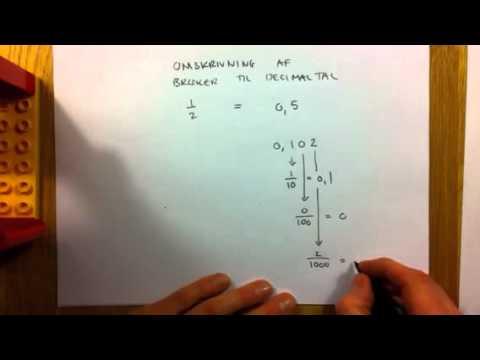 omskriv brøker til decimaltal