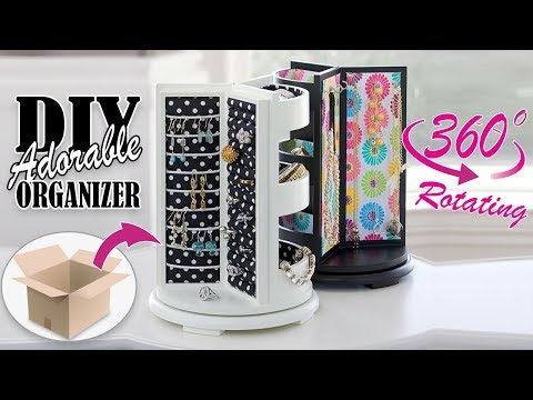 DIY ROTATING JEWELLERY ORGANIZER ADORABLE IDEA // Cute Organizer Tutorial