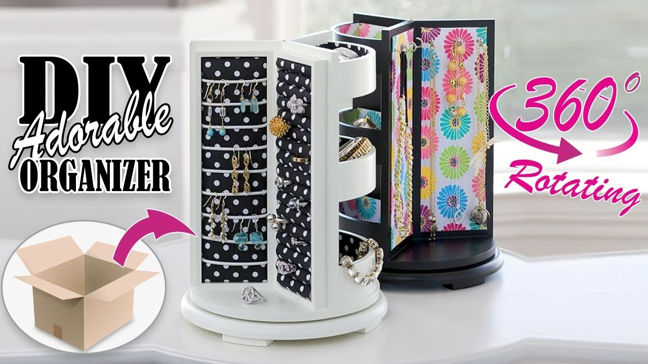Diy Rotating Jewellery Organizer Adorable Idea Cute Organizer Tutorial Youtube