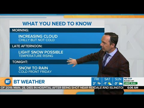 Light snow possible Thursday afternoon but changing to rain tonight