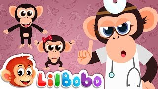 5 Little Monkeys Jumping on the Bed - Bouncing Surfaces | Little BoBo Nursery Rhymes - FlickBox Kids