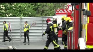 Simulacro de incendio, colegio Sagrado Corazón en Ribadeo 2014