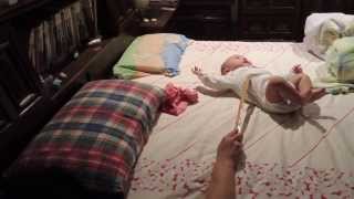 Lazy daddy makes fun on 6M baby!