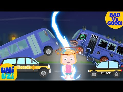 Umi Uzi | Good Vs Evil | School bus V Police car | Save Umi