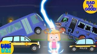 Umi Uzi   Good Vs Evil   School bus V Police car   Save Umi Uzi   Ep #01