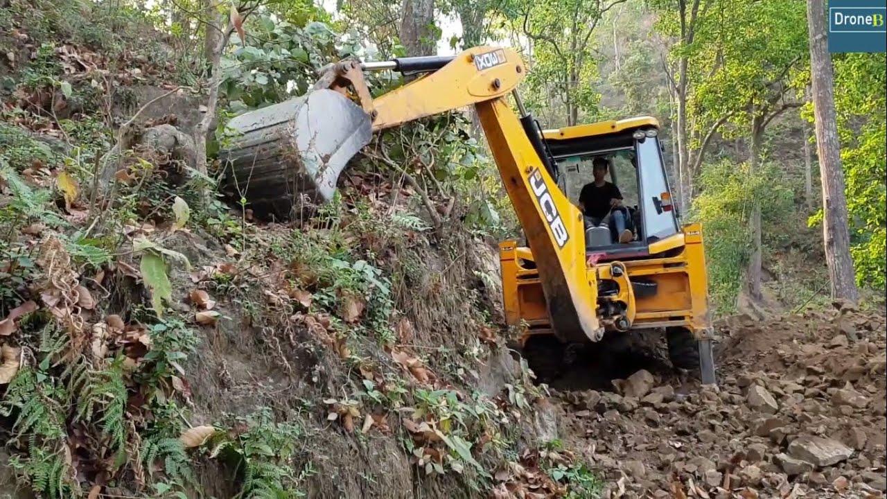 Hill Cutting-Clearing Road Dirt-JCB Backhoe Video