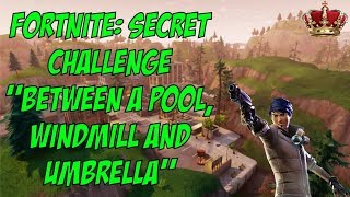 Fortnite Challenge: Between a Pool, Windmill and Umbrella (Secret Battle Pass Challenge)