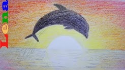 Sonnenuntergang malen mit Delfin - How to draw sunset scenery / sea - Dolphin drawing - Рисуем закат