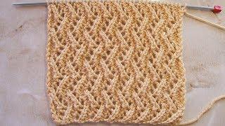 Ажурный узор зиг-заг Вязание спицами Видеоурок 269