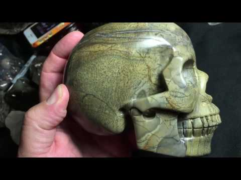 Hand carved Chinese paint stone skull, 1470 grams