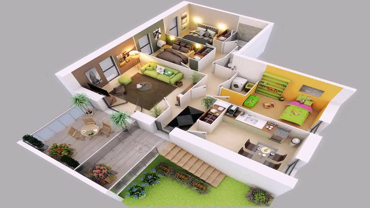 4 Bedroom House Plans 2 Story 3d   YouTube 4 Bedroom House Plans 2 Story 3d