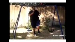 Fat Guy Destroys Swing Set (funny As Hell)