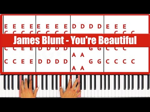 You're Beautiful James Blunt Piano Tutorial - EASY