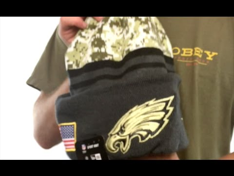 a72aa04fa Eagles '2016 SALUTE-TO-SERVICE' Knit Beanie Hat by New Era - YouTube