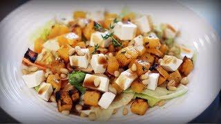 Салат с тыквой, сыром фета и кедровыми орешками