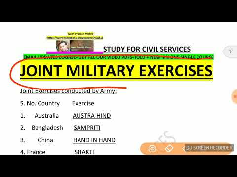 भारत के सैन्य अभ्यास  JOINT MILITARY EXERCISE- SSC CGL CHSL MTS SI IBPS PO POLICE  PCS EXAMS RO 2018