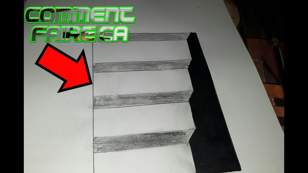 tuto comment dessiner un escalier illusion d optique youtube. Black Bedroom Furniture Sets. Home Design Ideas