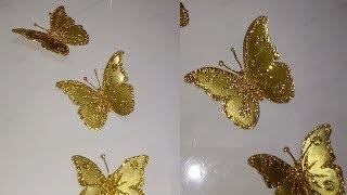 Mariposas doradas – golden butterflies – Borboletas Douradas com Pet Reciclada