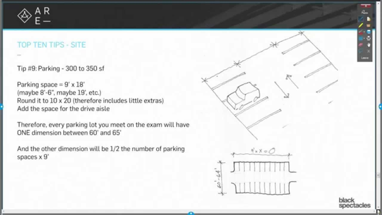 Tip 9 Calculate Parking Lot Square Footage  Top Ten Tips  Architecture Registration Exam AR