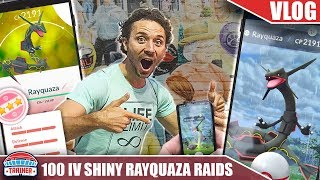 100% IV SHINY RAYQUAZA... HOW IS THIS EVEN POSSIBLE?! RAYQUAZA DINNER HOUR RAIDS | POKÉMON GO VLOG