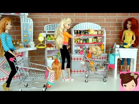 Thumbnail: Elsa & Anna Babies Shopping at the Grocery Store - Doll Supermarket Toy - Titi Dolls
