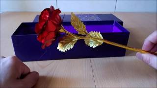 1PCS Gold Plated Rose Flower Birthday Gift RED