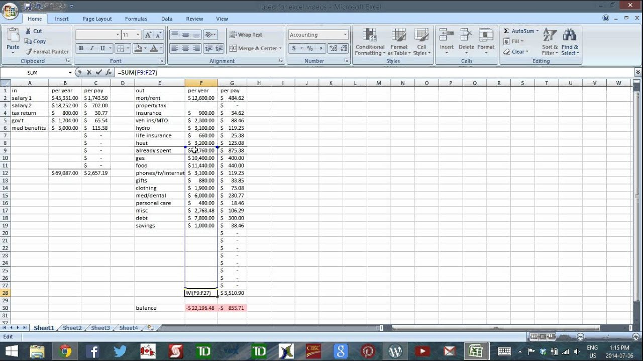 using excel to budget part 6 simplified cash flow tracking youtube