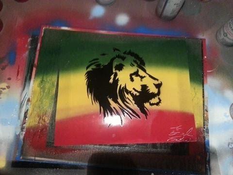 Spray Paint Art Rasta lion Stencil - YouTube