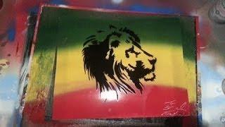 Spray Paint Art: Rasta lion Stencil