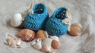 Repeat youtube video Tutorial Sandalias Bebé Crochet o Ganchillo Baby Shoes (English Subtitles)